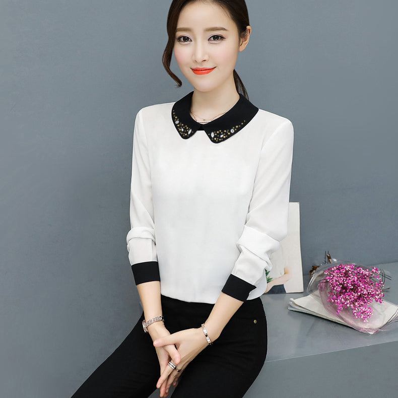 Elegant Office Blouses Chiffon Shirts For Women-White-BE10724