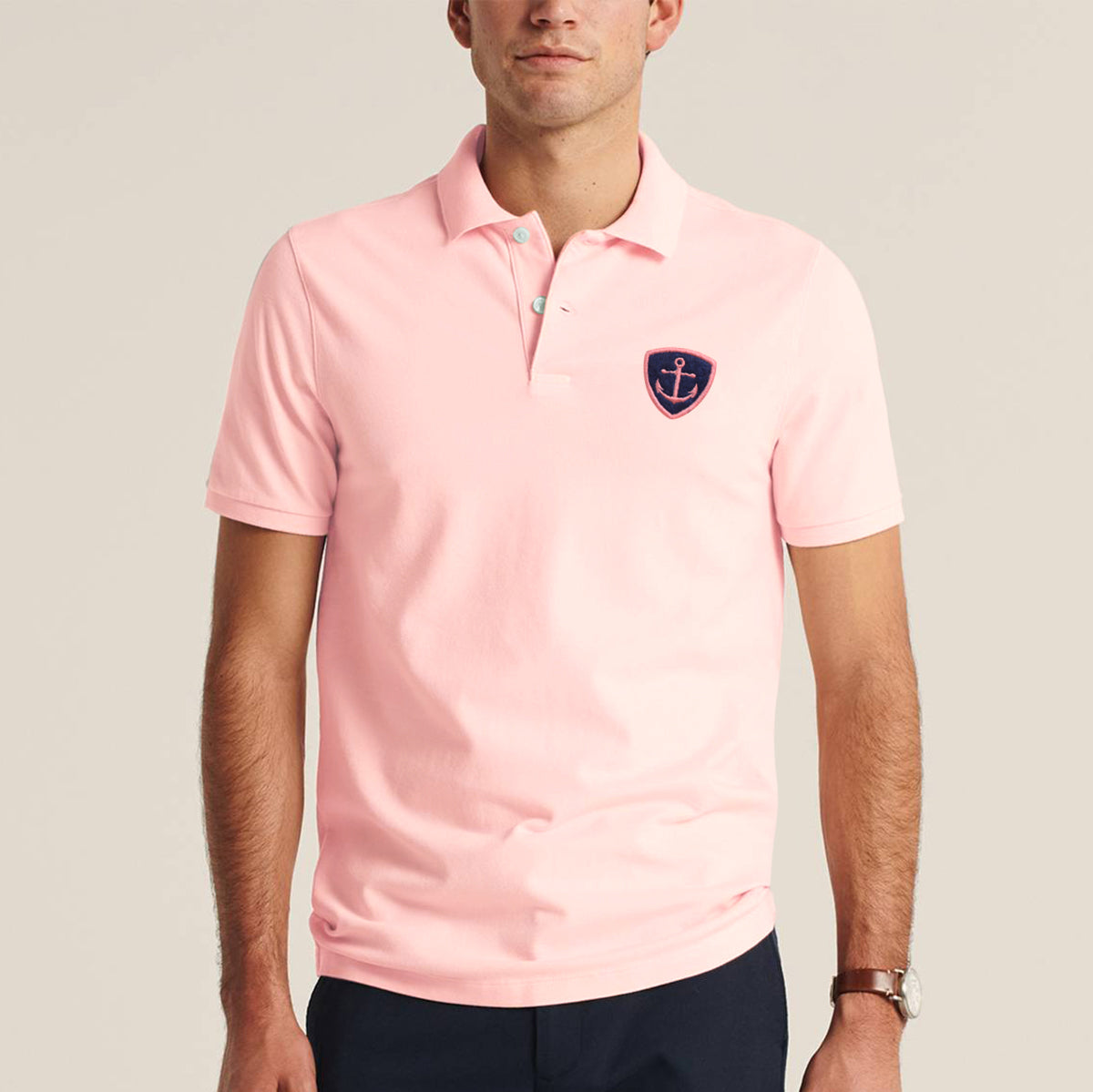 Express Stylish Summer Polo Shirt For Men-Light Peach-BE11438