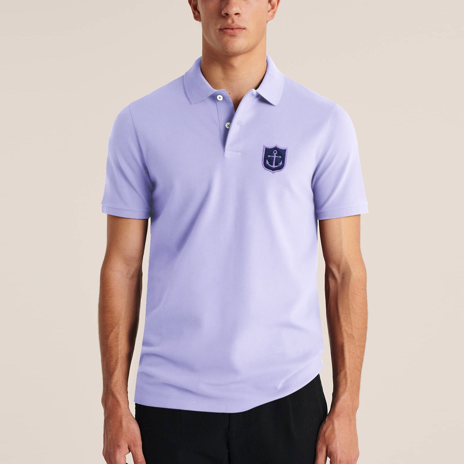 Express Stylish Summer Polo Shirt For Men-Light Purple-BE11454