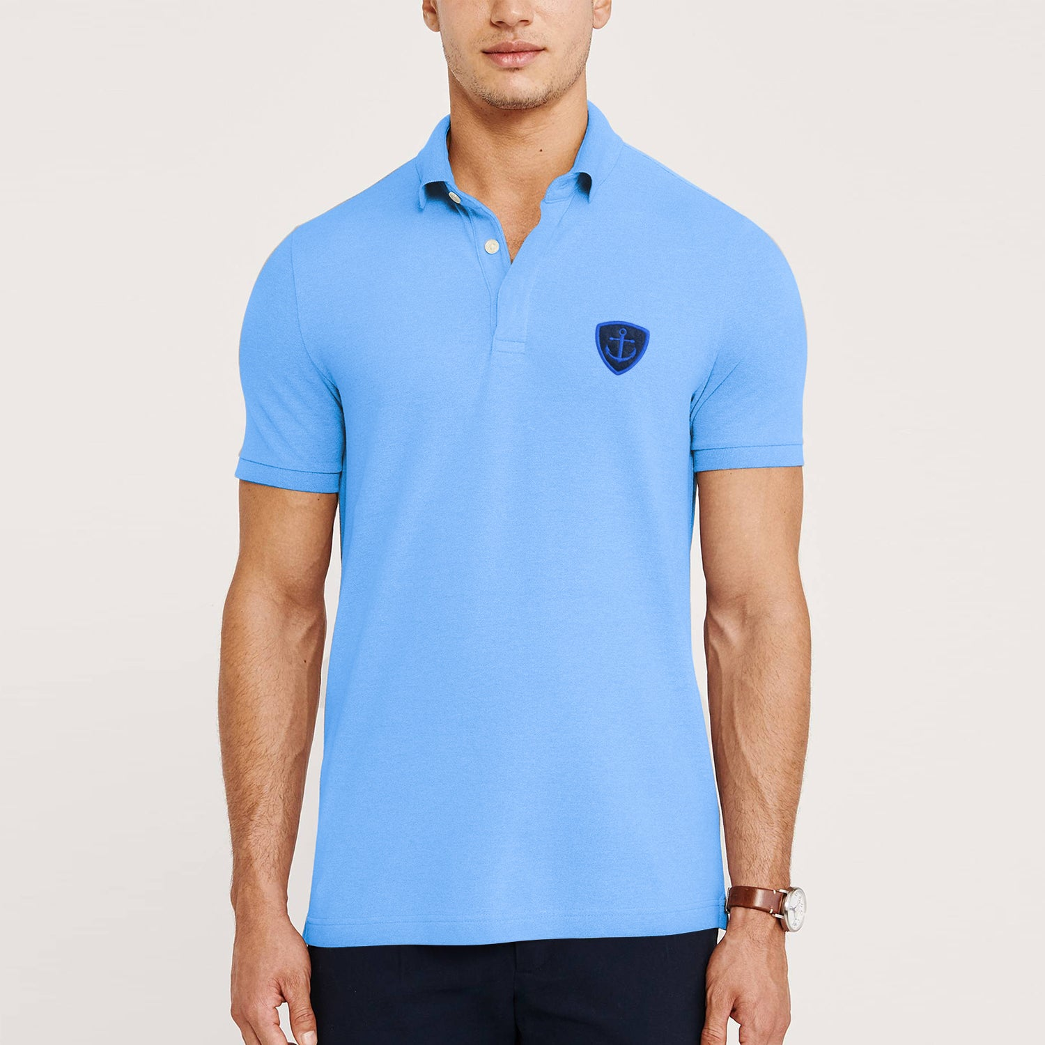 Express Stylish Summer Polo Shirt For Men-Light Sky-BE11435