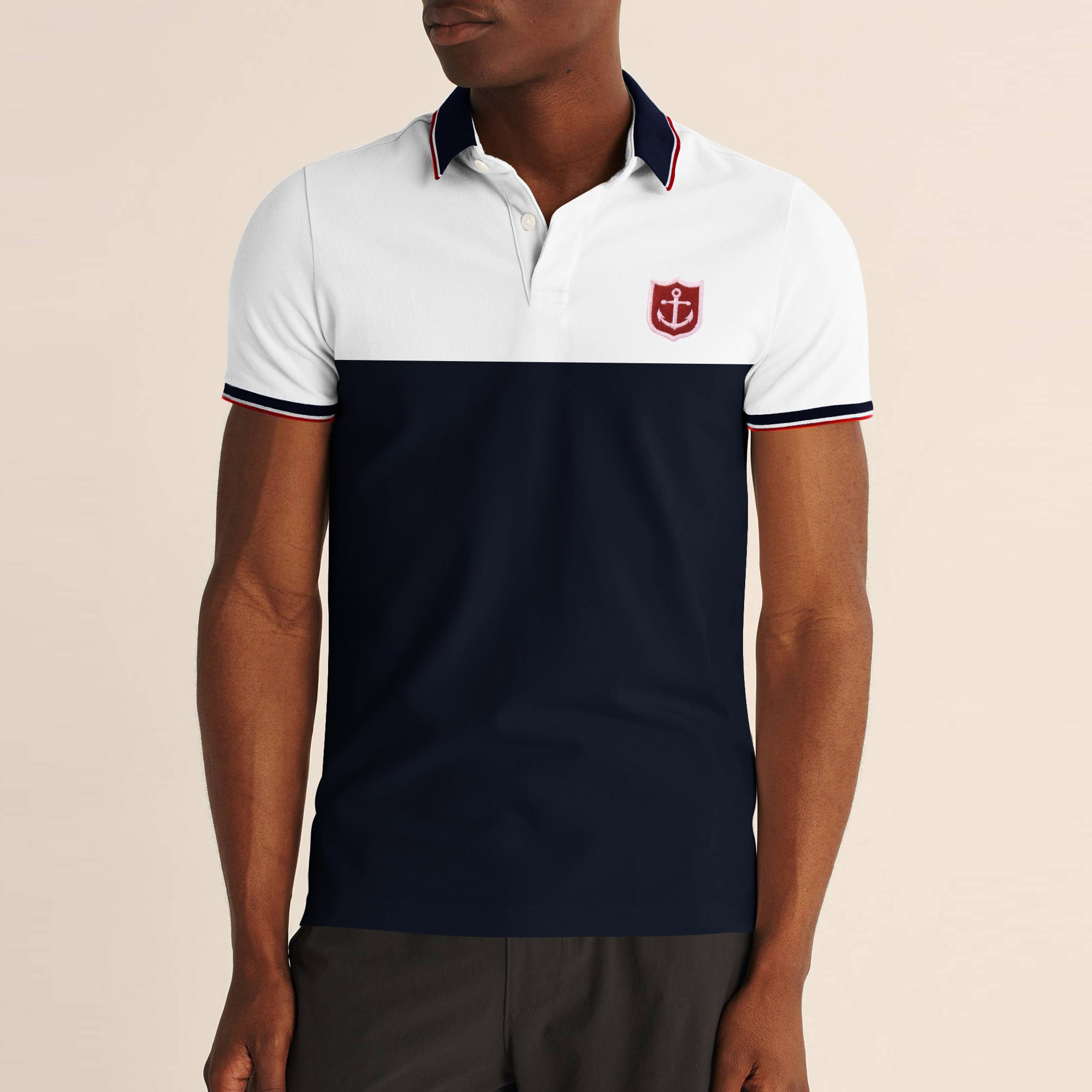 Express Stylish Summer Polo Shirt For Men-White with Navy Panel-BE11458