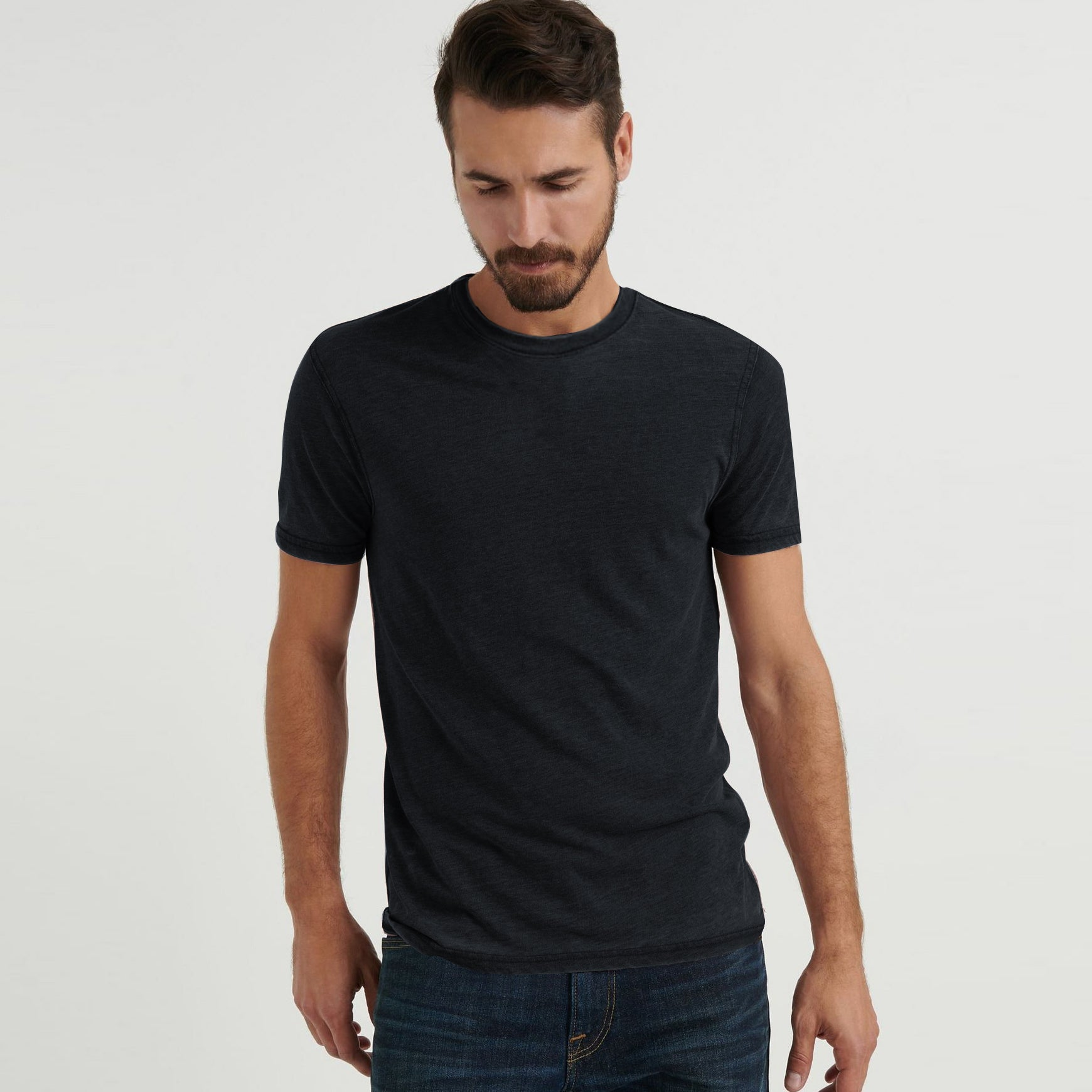 F&F Crew Neck Burnout Wash Single Jersey Tee Shirt For Men-Charcoal Faded-BE8569