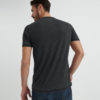 brandsego - F&F Crew Neck Burnout Wash Single Jersey Tee Shirt For Men-Charcoal Faded-BE8569