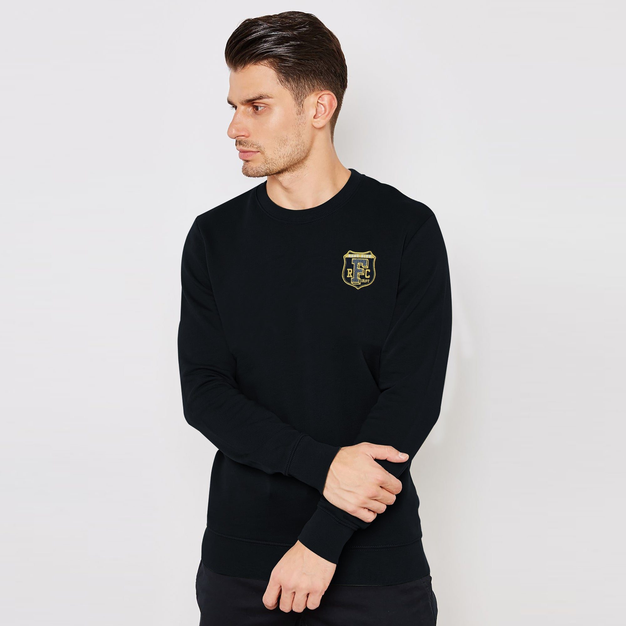 brandsego - F&F Fleece Crew Neck Sweatshirt For Men-Black-BE6684