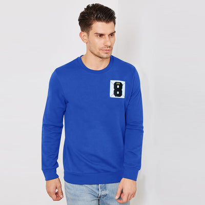 F&F Fleece Crew Neck Sweatshirt For Men-Blue-BE6680