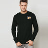 F&F Fleece Crew Neck Sweatshirt For Men-Dark Olive-BE6704