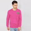F&F Fleece Crew Neck Sweatshirt For Men-Pink Melange-BE6701