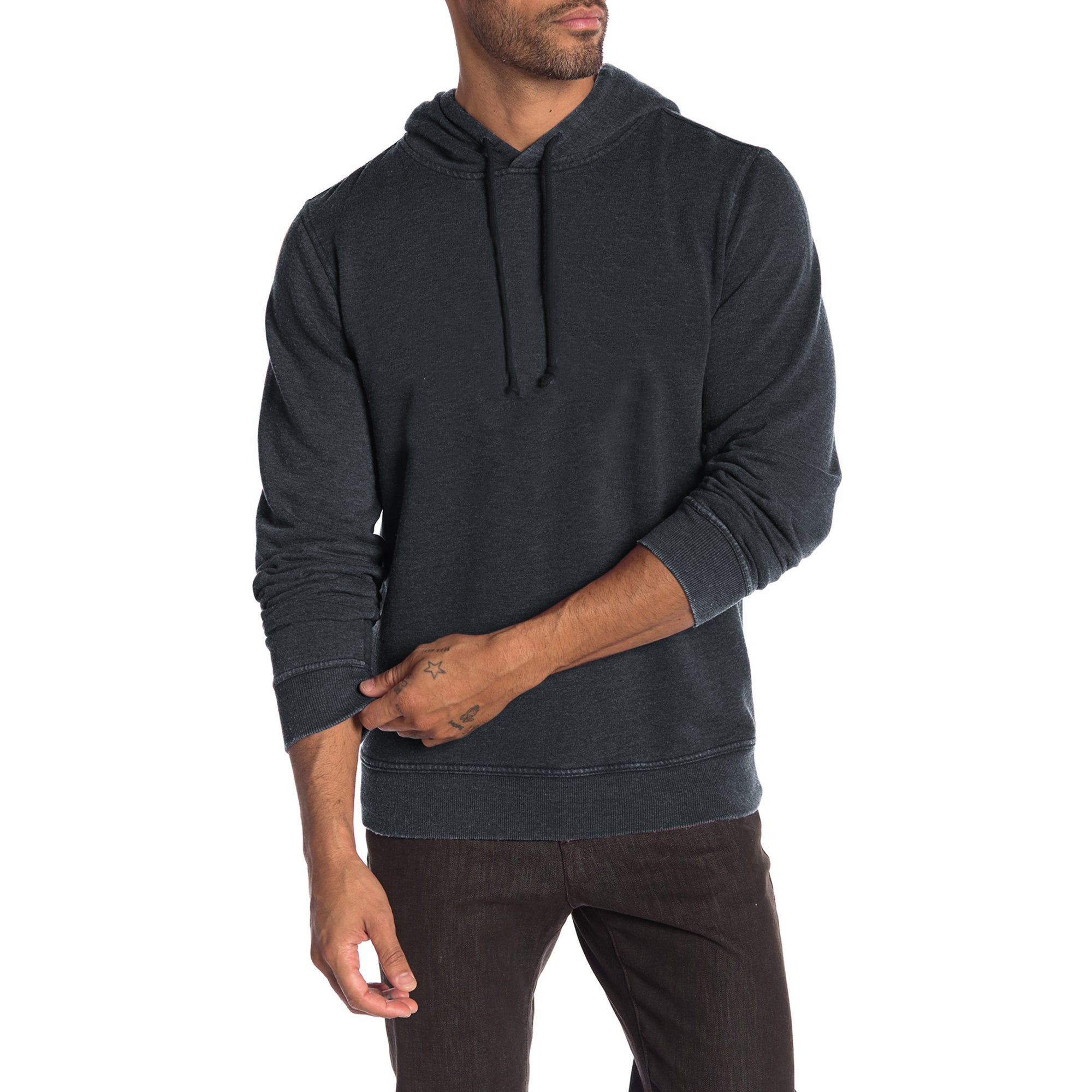 F&F Fleece Pullover Burnout Wash Hoodie For Men-Charcoal-BE6534