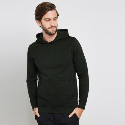 F&F Pullover Fleece Hoodie For Men-Dark Olive-BE6295