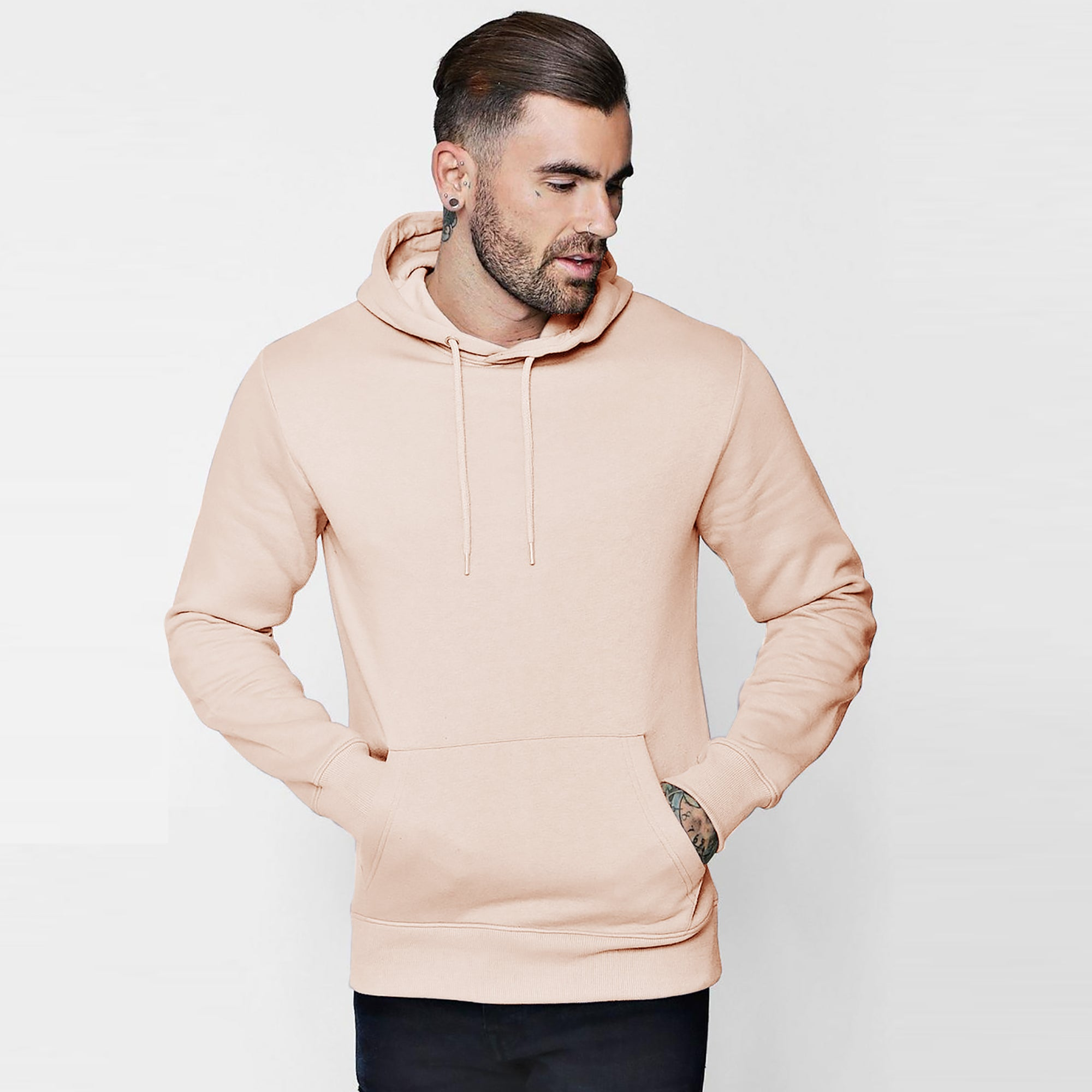 brandsego - F&F Pullover Fleece Hoodie For Men-Light Peach-BE6206