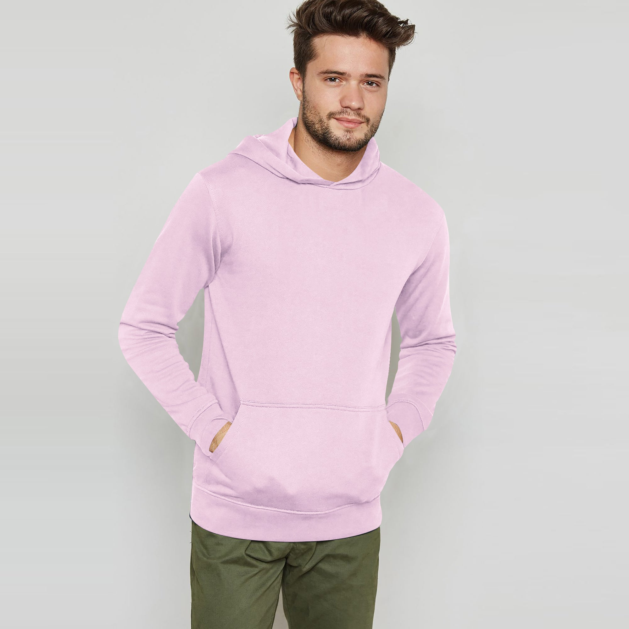 brandsego - F&F Pullover Terry Fleece Hoodie For Men-Light Pink-BE6928