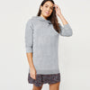 F&F Terry Fleece Long Pullover Hoodie For Ladies-Grey Melange-BE7038