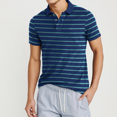 Falls Creek Short Sleeve Single Jersey Polo Shirt For Men-Dark Blue with Stripe-BE8617