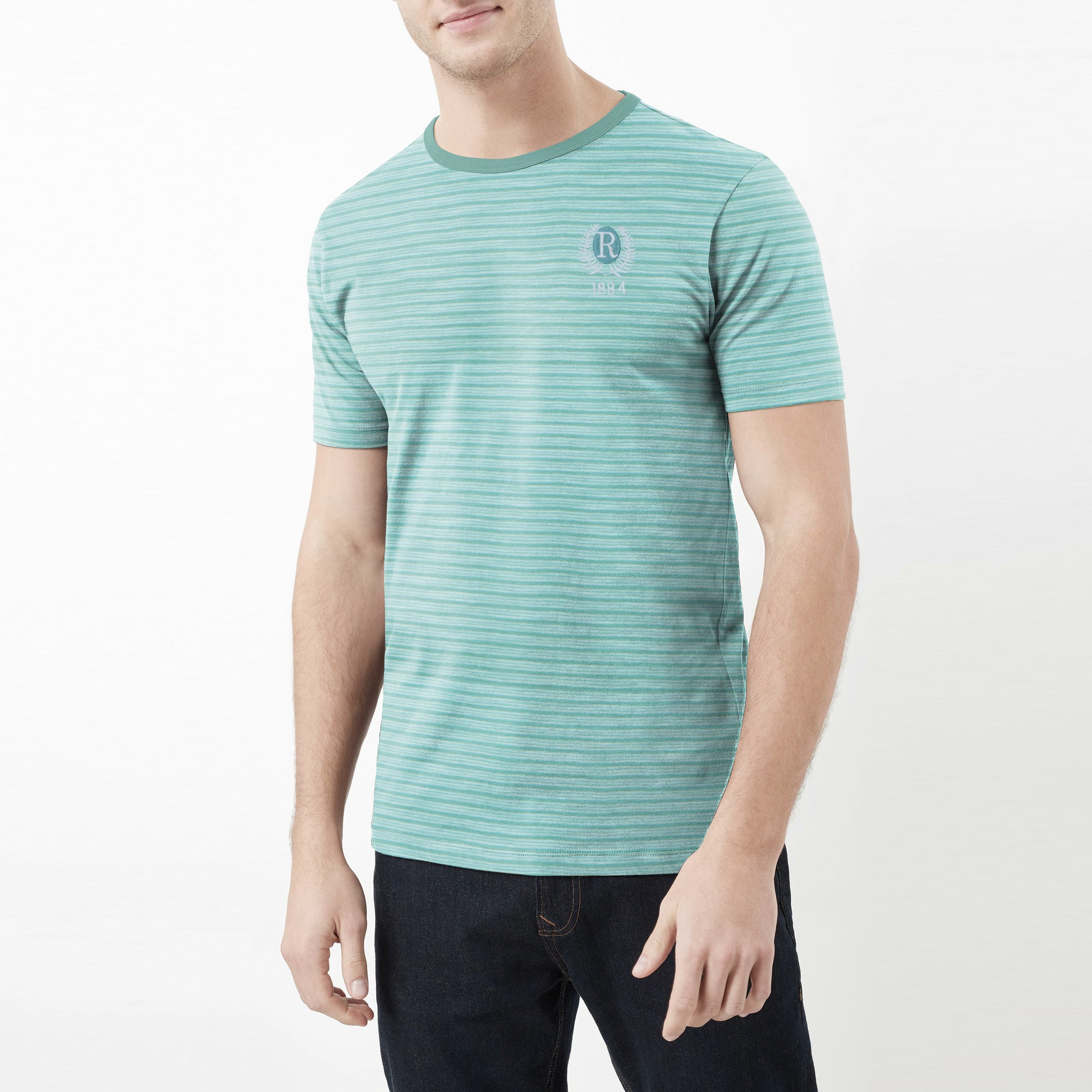 Fat Face Crew Neck Half Sleeve Tee Shirt For Men-Green Stripe-BE8122