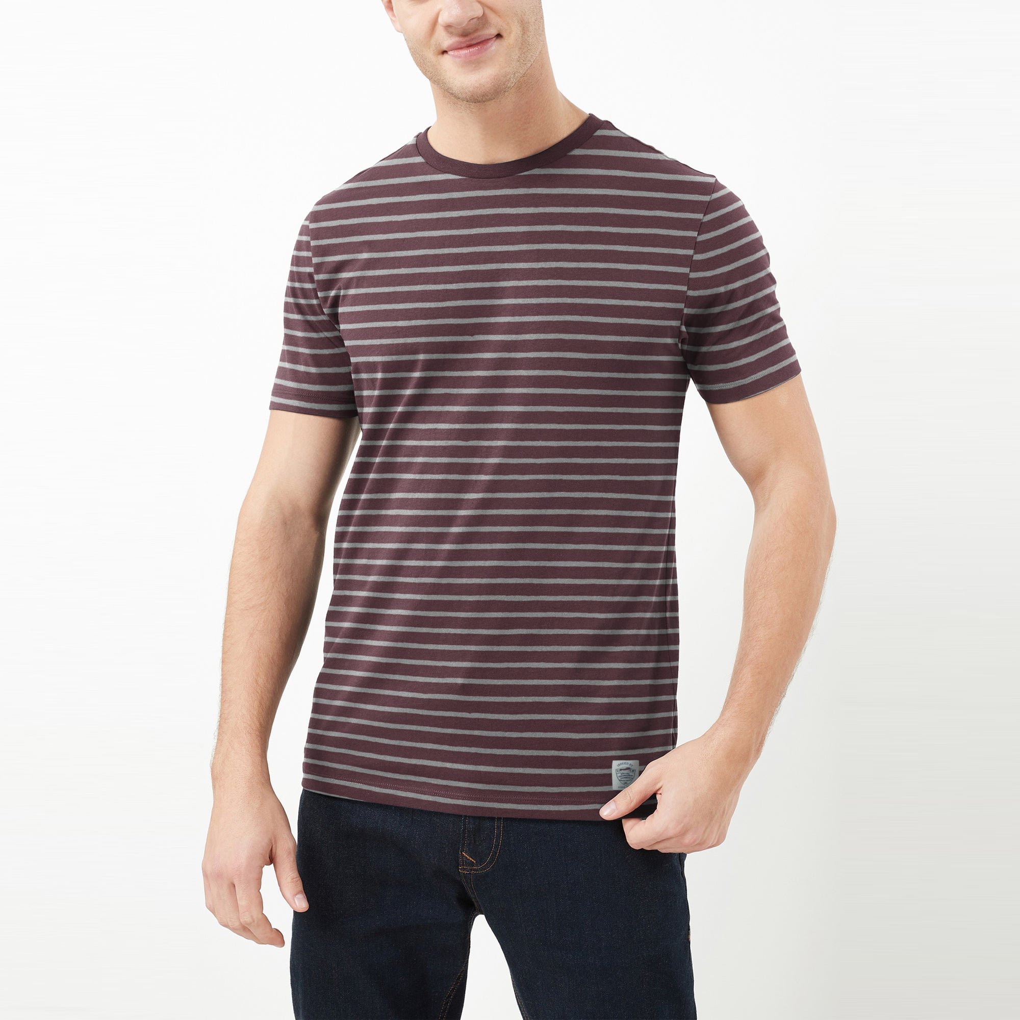 Fat Face Crew Neck Half Sleeve Tee Shirt For Men-Maroon & Grey Stripe-BE8121