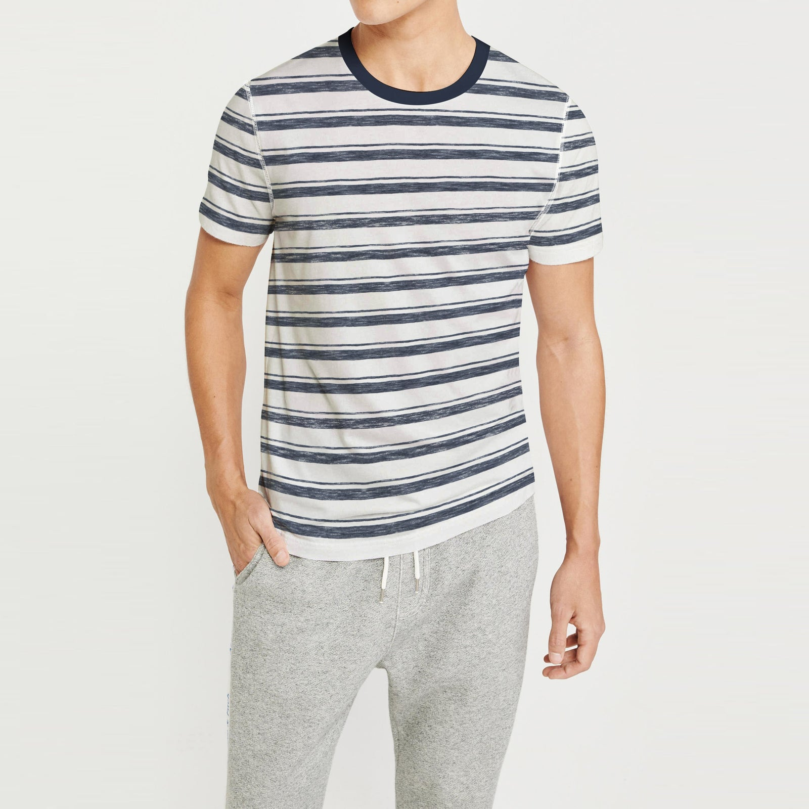c4ed65029af6b Fat Face Crew Neck Half Sleeve Tee Shirt For Men-Off White with Stripe-