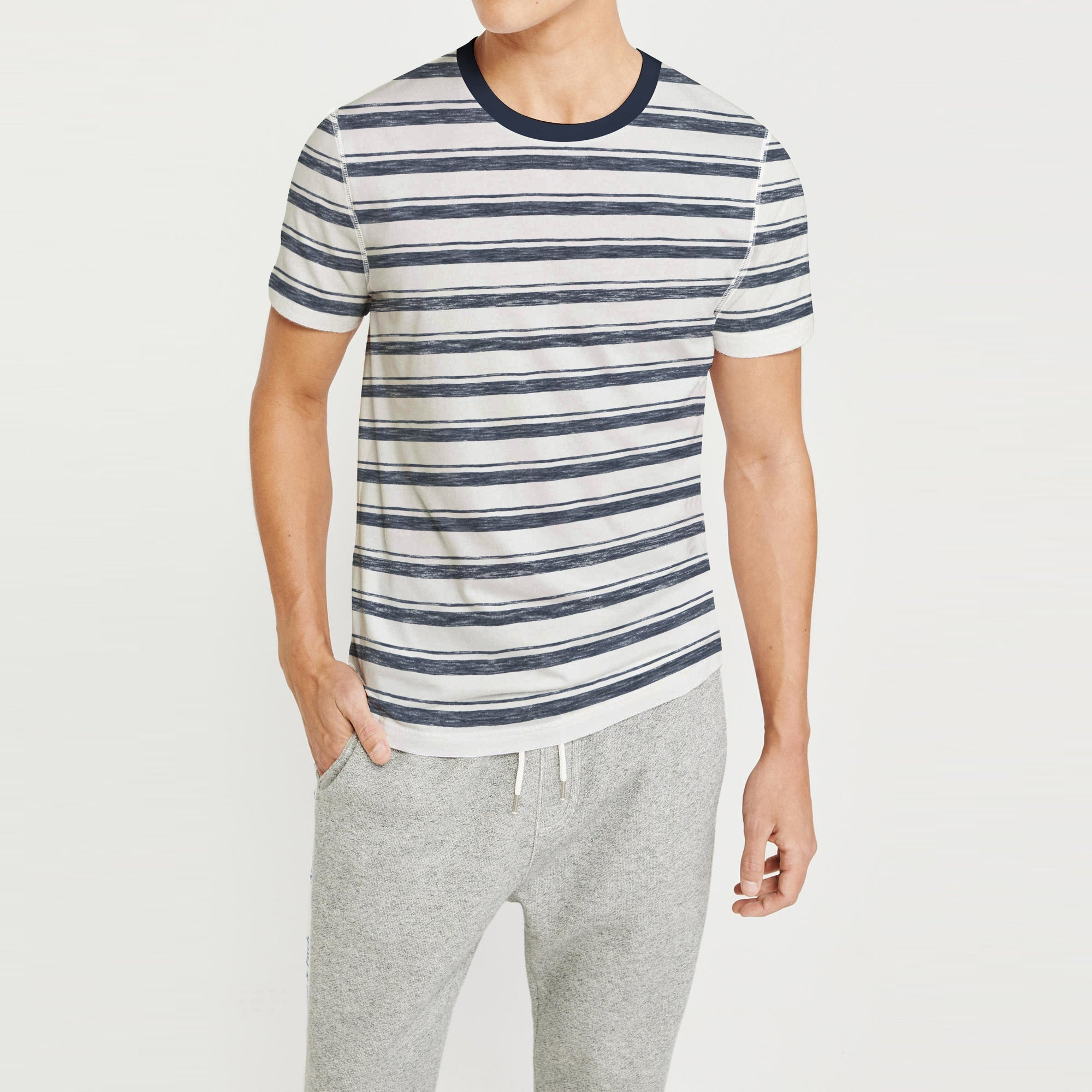 Fat Face Crew Neck Half Sleeve Tee Shirt For Men-Off White with Stripe-BE8113