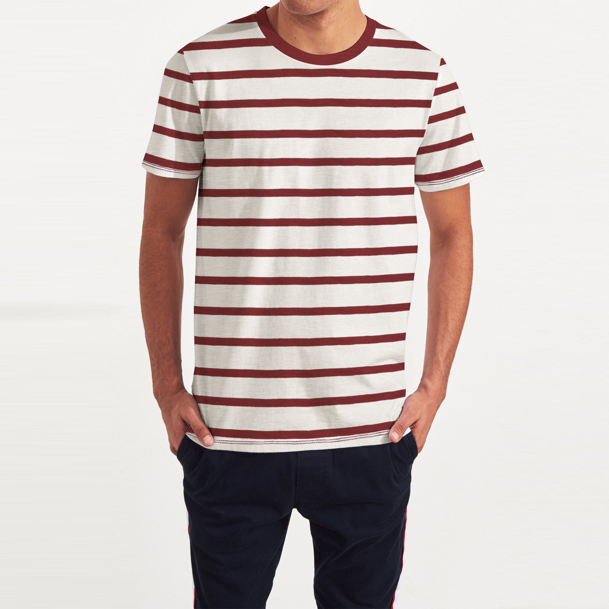 Fat Face Crew Neck Half Sleeve Tee Shirt For Men-Off White with Stripe-BE8114
