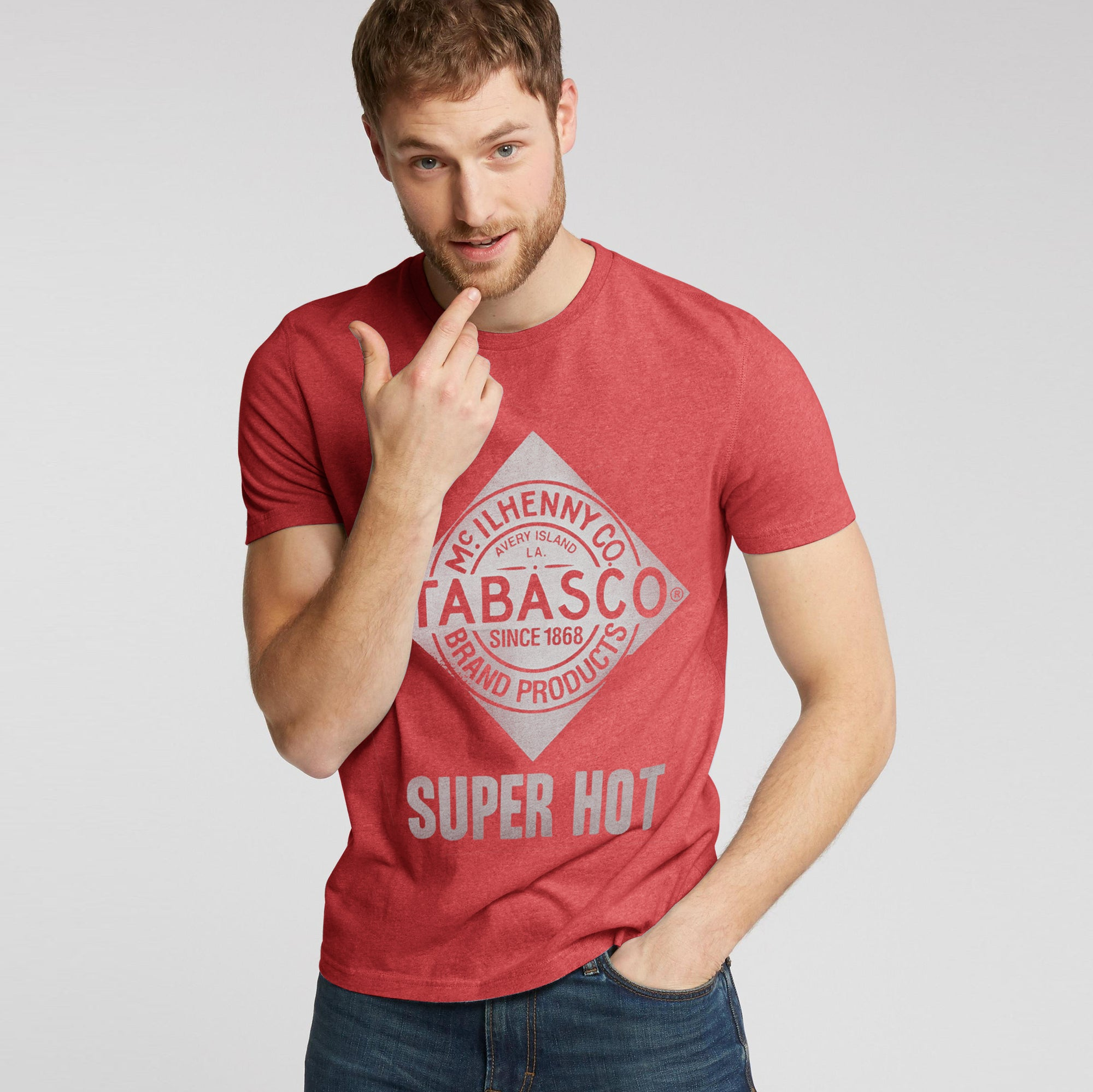 Fat Face Crew Neck Single Jersey Tee Shirt For Men-Red Melange-BE8330