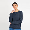 Fat Face Fleece Crew Neck Raglan Sleeve Sweatshirt For Ladies-Navy Melange-BE9875