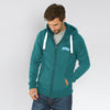Fat Face Fleece Zipper Hoodie For Men-Cyan Green-BE6526
