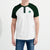 Fat Face Henley Raglan Sleeve Tee Shirt For Men-Green & White-BE5682