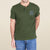 Fat Face Henley Tee Shirt For Men-Olive Green Melange-BE5678