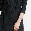 brandsego - Fat Face Long Sleeve Button Down Single Jersey Long Length Stylish Gown-Rosy Black Melange-BE8458