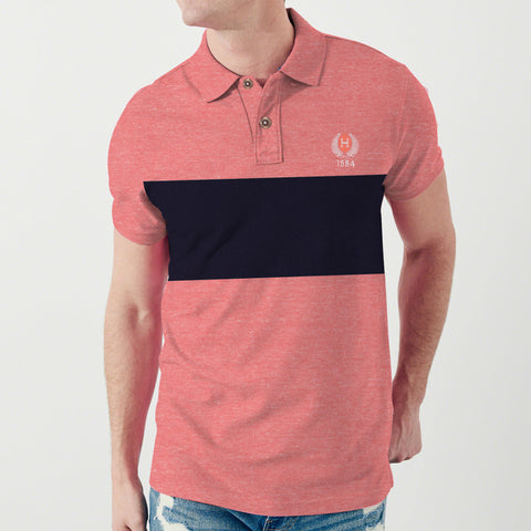 Fat Face P.Q Polo Shirt For Men-Coral Pink Melange with Navy Panel-BE4952