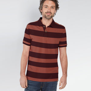 Fat Face-P.Q-Polo-Shirt-For-Men-Maroon & Coral Orange-BE4883