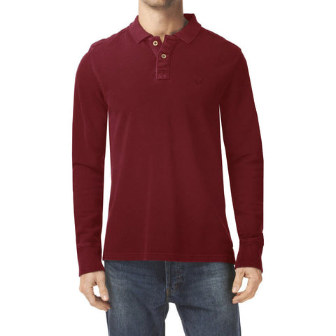 "Men's Cut Label ""Fat Face"" Long Sleeve Polo Shirt-Red-BE73"