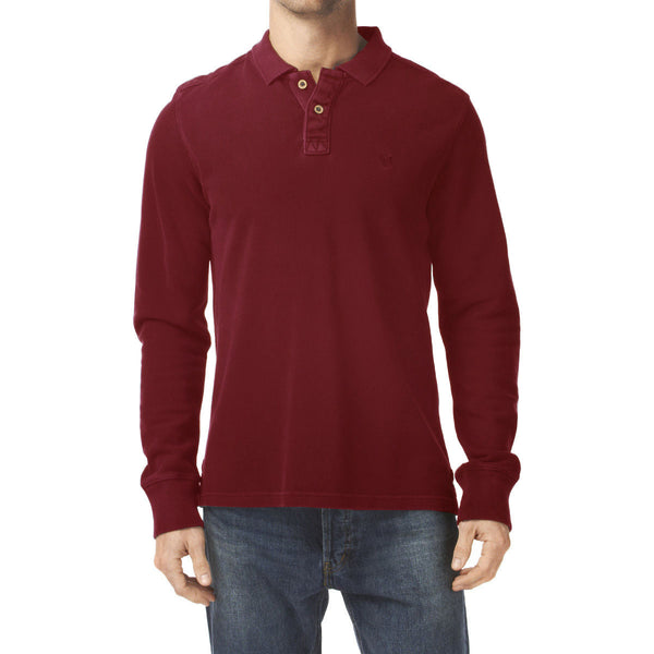 "Men's Cut Label ""Fat Face"" Long Sleeve Polo Shirt -Red-(NRSPS15)"