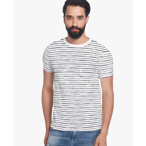 Fat Face Single Jersey Crew Neck Pocket Style Tee Shirt For Men-White & Black Stripe-BE5100
