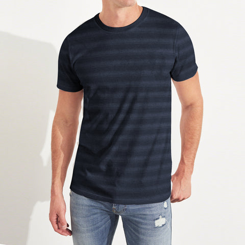 Fat Face Single Jersey Crew Neck Tee Shirt For Men-Navy Stripe-BE5508