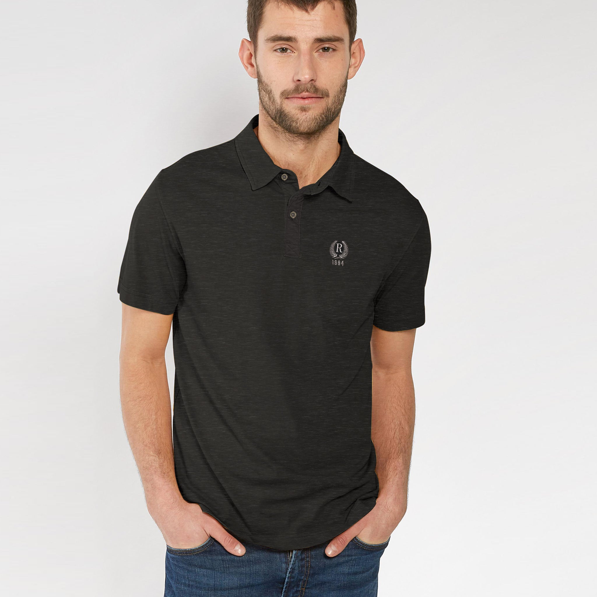 Fat Face-Single Jersey-Polo-Shirt-For-Men-Rosy Black Melange-BE4865