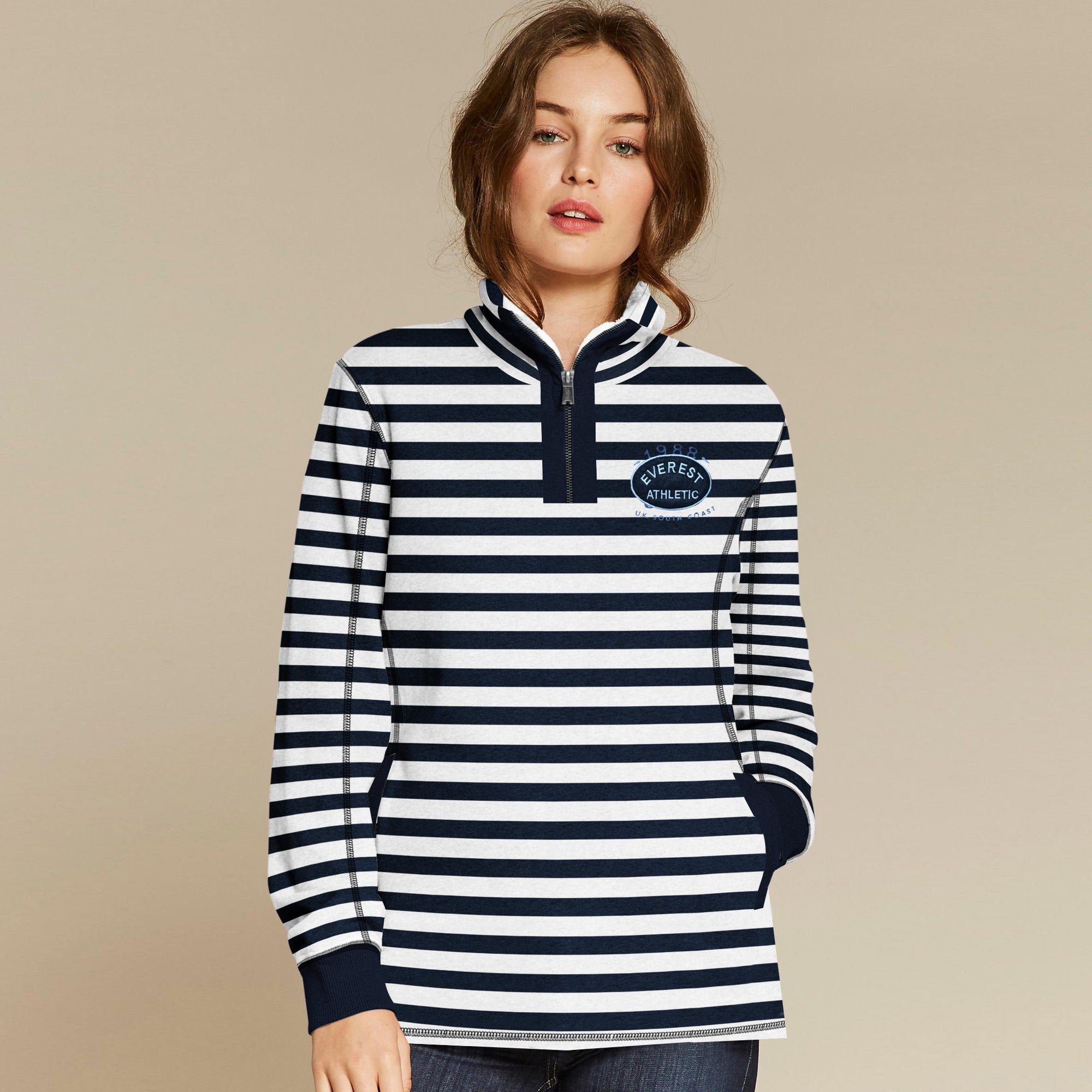 Fat Face Terry Fleece 1/4 Zip Mock Neck For Ladies-Navy & White Stripe-BE6531