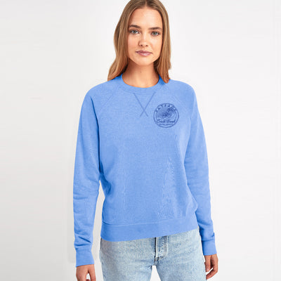 Fat Face Terry Fleece Crew Neck Raglan Sleeve Sweatshirt For Ladies-Sky-BE9873