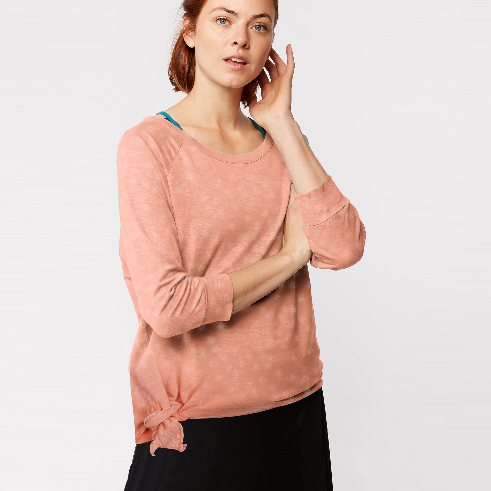c8a3ddb6b13e4e Fat Face Terry Summer Long Sleeve Stylish Blouse For Ladies-Light Peac -  BrandsEgo
