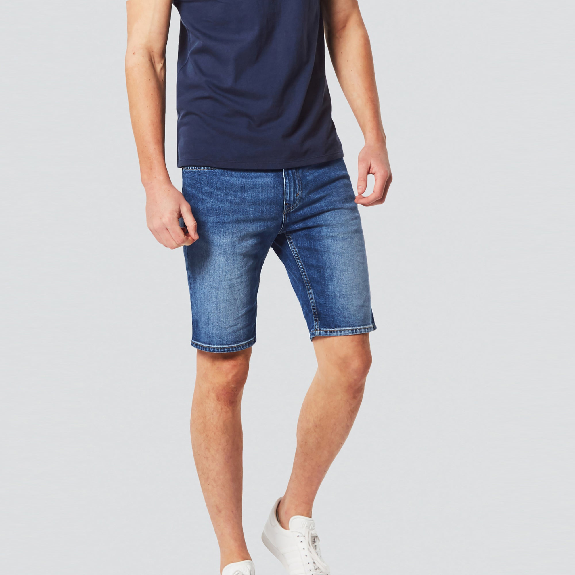 Fly Denim Short For Men- Light Navy Fadeed-SP059