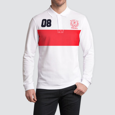 B Quality NEXT Rugby Polo for Men Cut Label -White & Red-RPS01