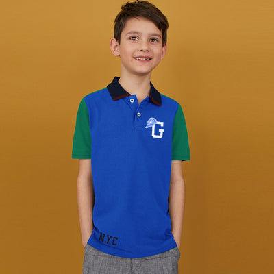 brandsego - GAP Half Sleeve P.Q Polo Shirt For Kids-Blue & Green Panel-BE8529