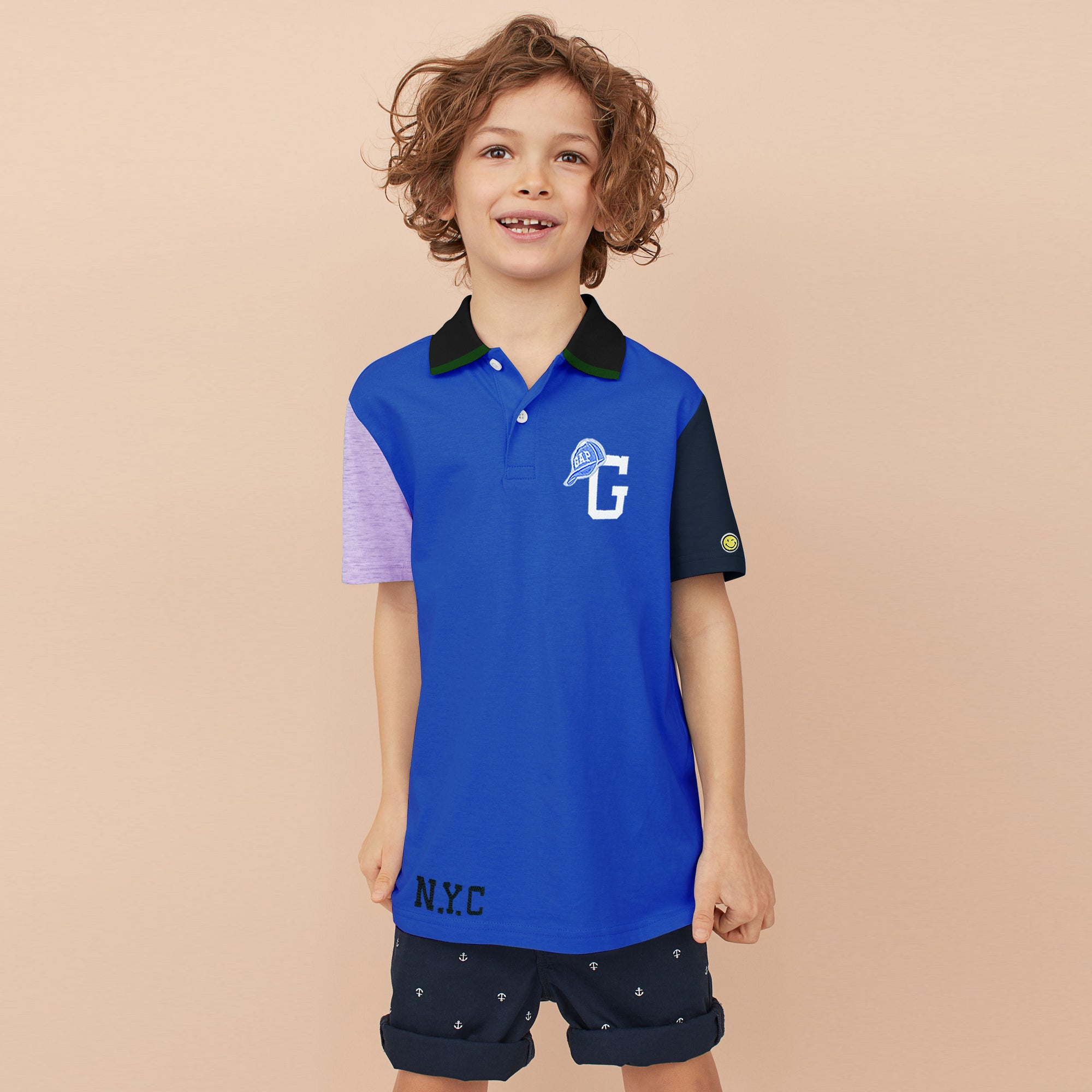 brandsego - GAP Half Sleeve P.Q Polo Shirt For Kids-Blue with Panel-BE8516