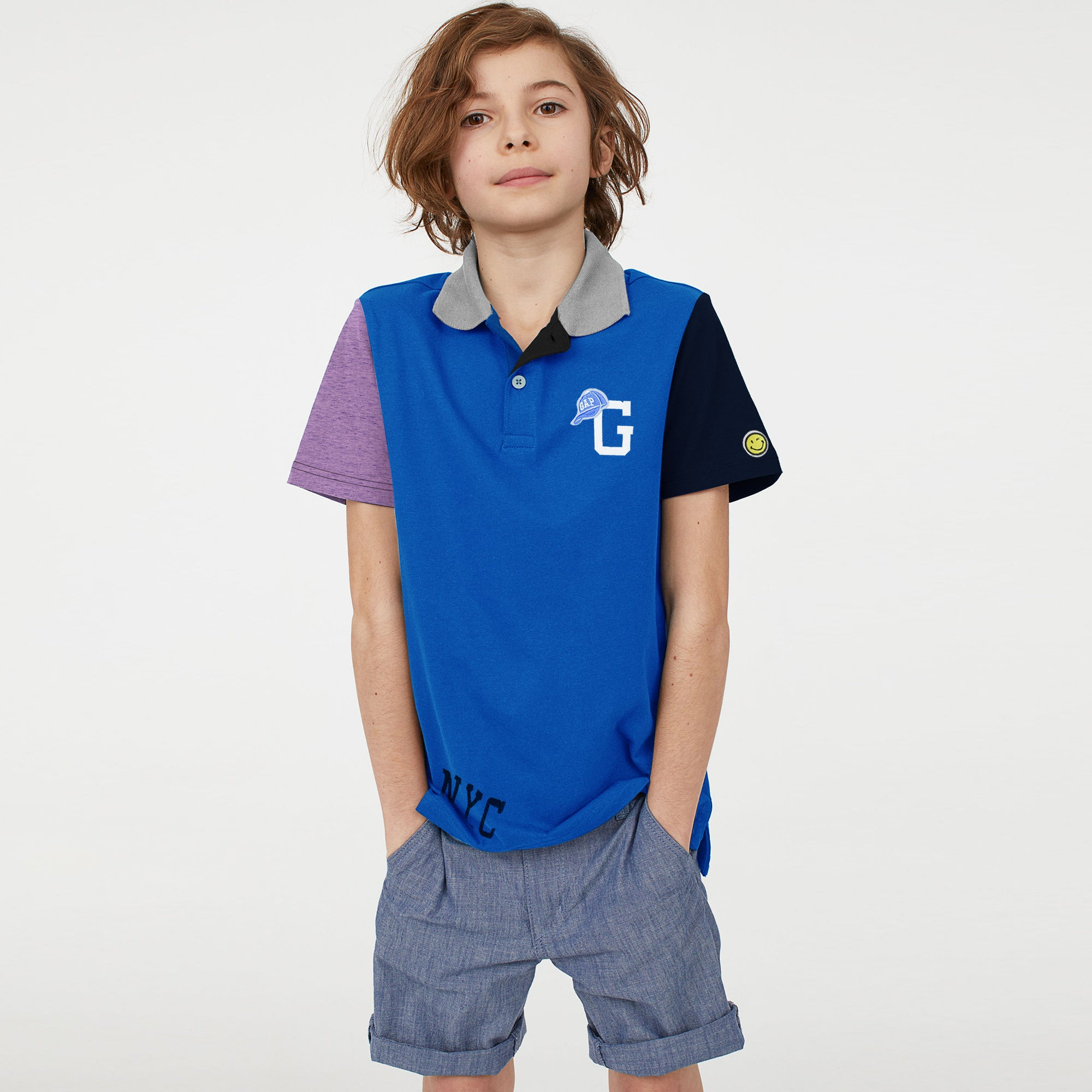 brandsego - GAP Half Sleeve P.Q Polo Shirt For Kids-Blue with Panels-BE8510