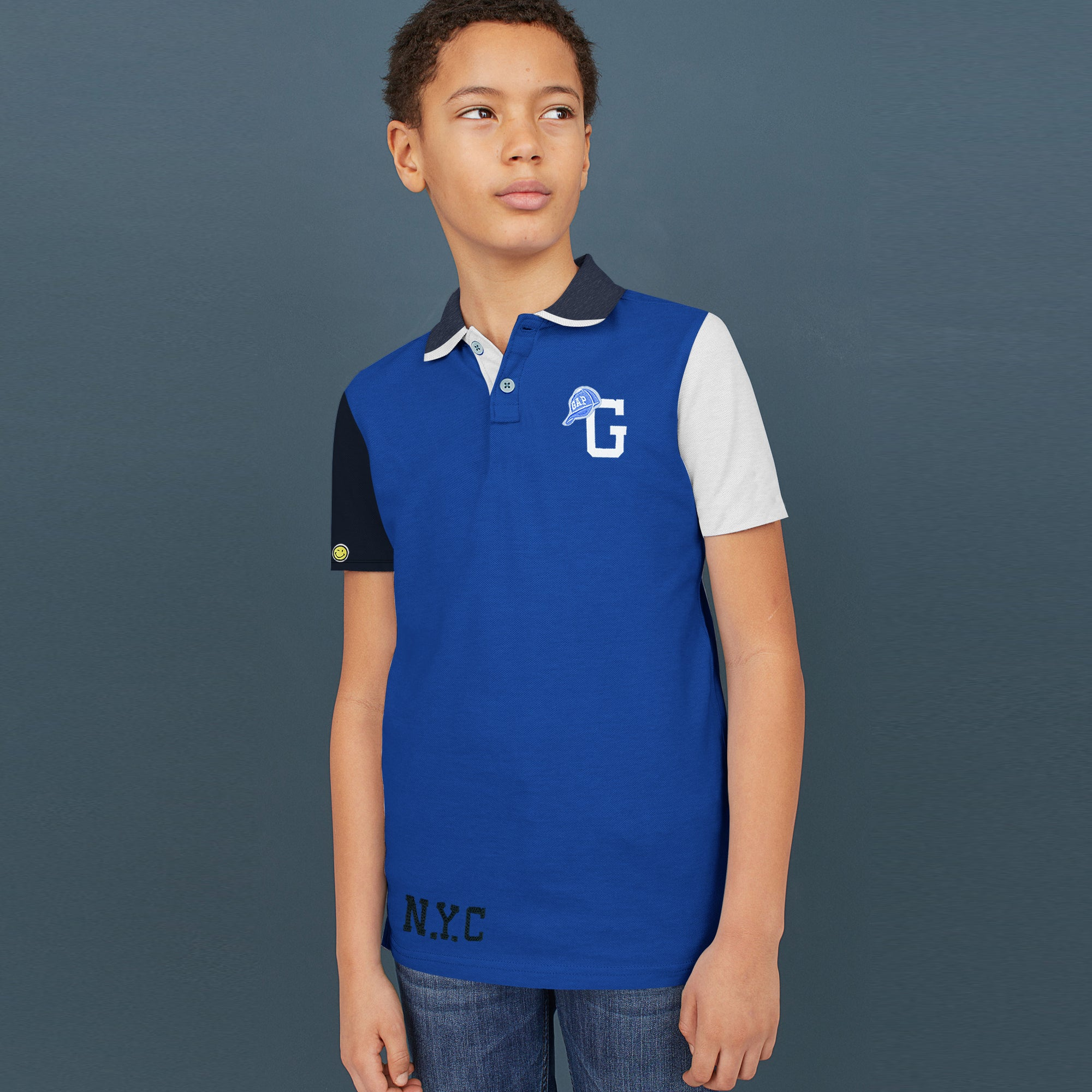 brandsego - GAP Half Sleeve P.Q Polo Shirt For Kids-Blue with Panels-BE8511