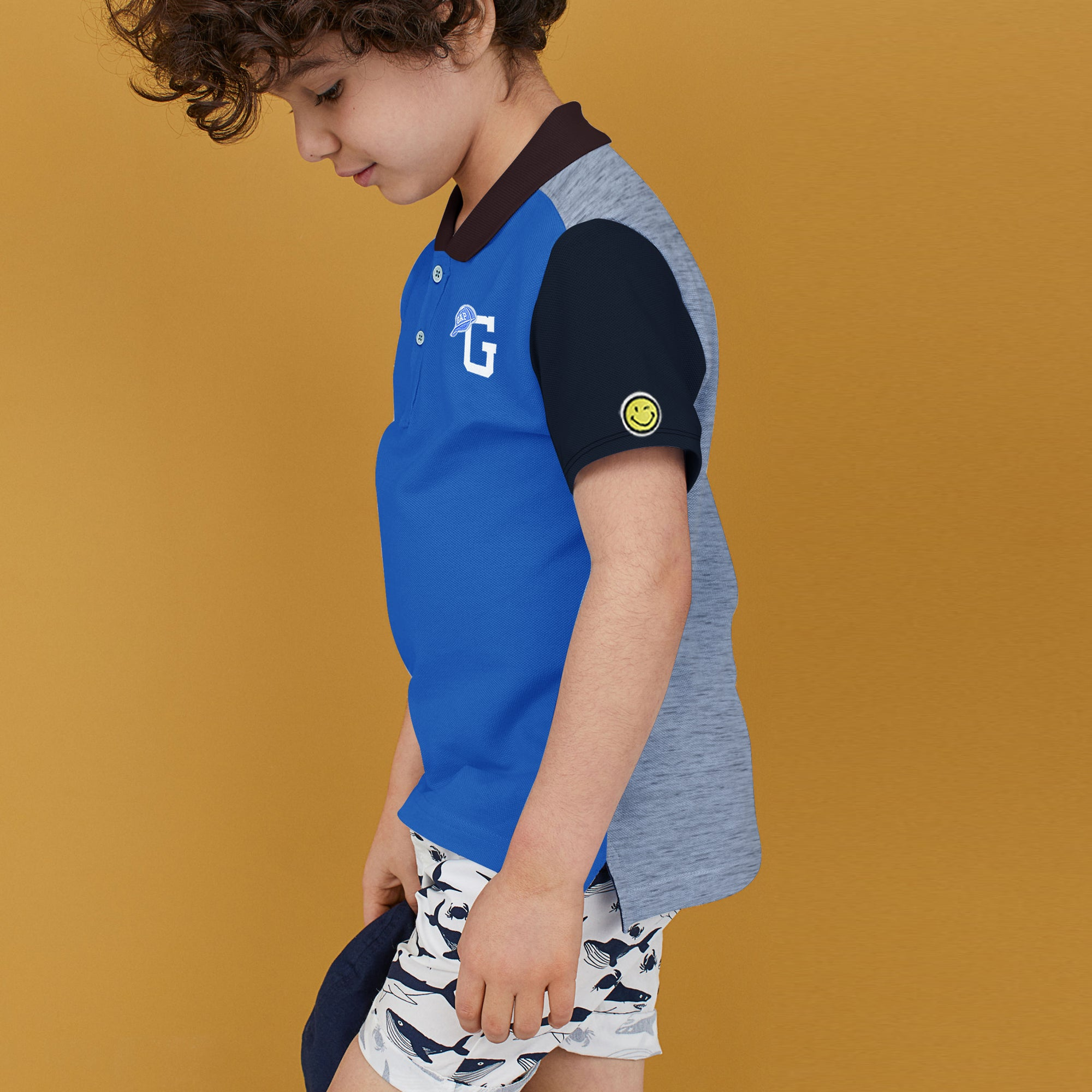 brandsego - GAP Half Sleeve P.Q Polo Shirt For Kids-Blue with Panels-BE8513