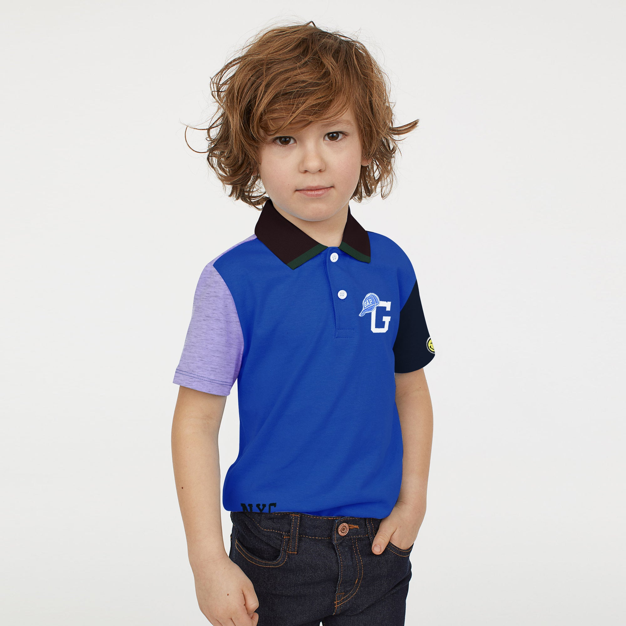 brandsego - GAP Half Sleeve P.Q Polo Shirt For Kids-Purple with Panels-BE8514