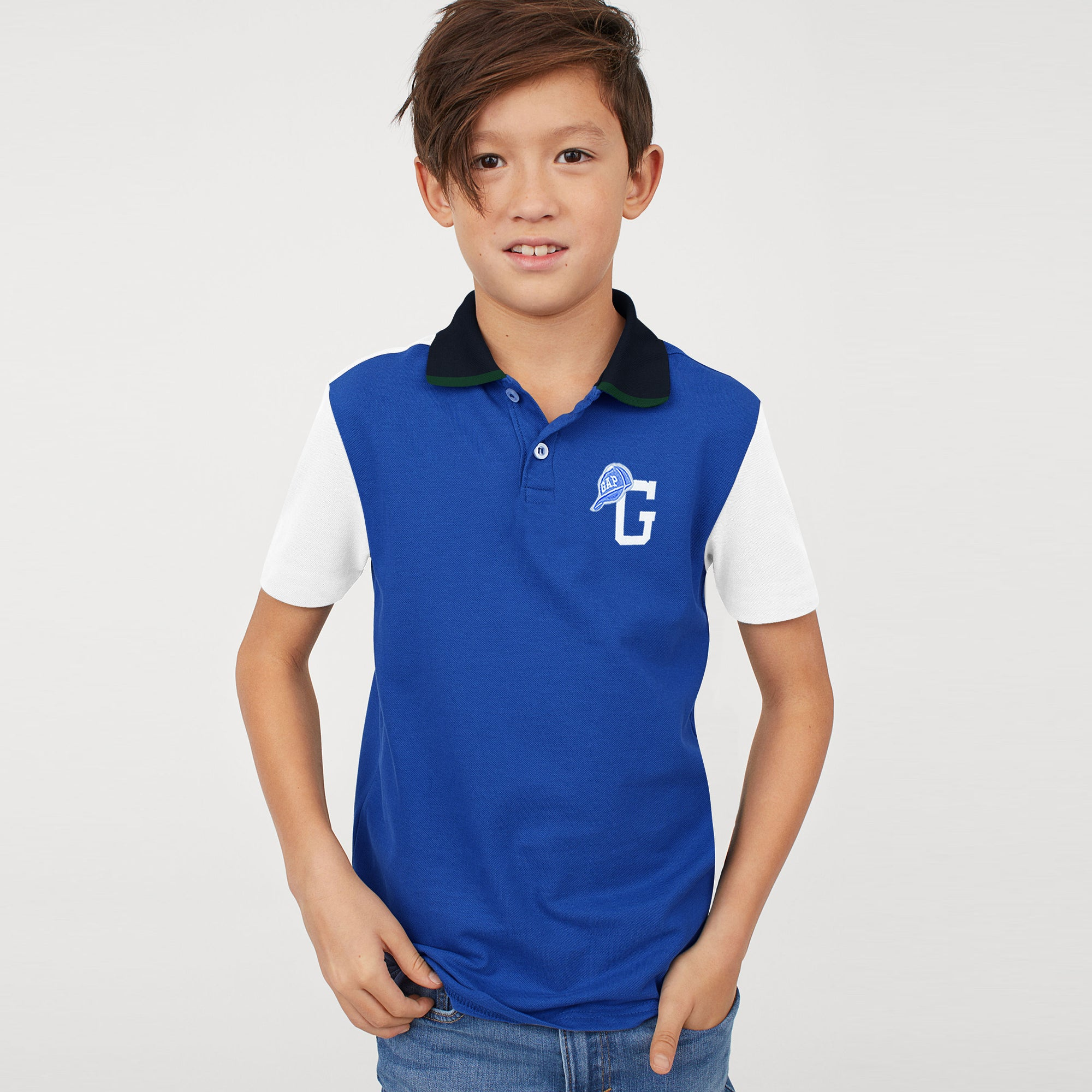brandsego - GAP Half Sleeve P.Q Polo Shirt For Kids-Blue with White Panel-BE8515