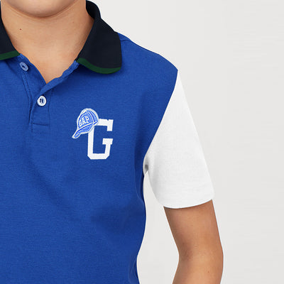 GAP Half Sleeve P.Q Polo Shirt For Kids-Blue with White Panel-BE8515