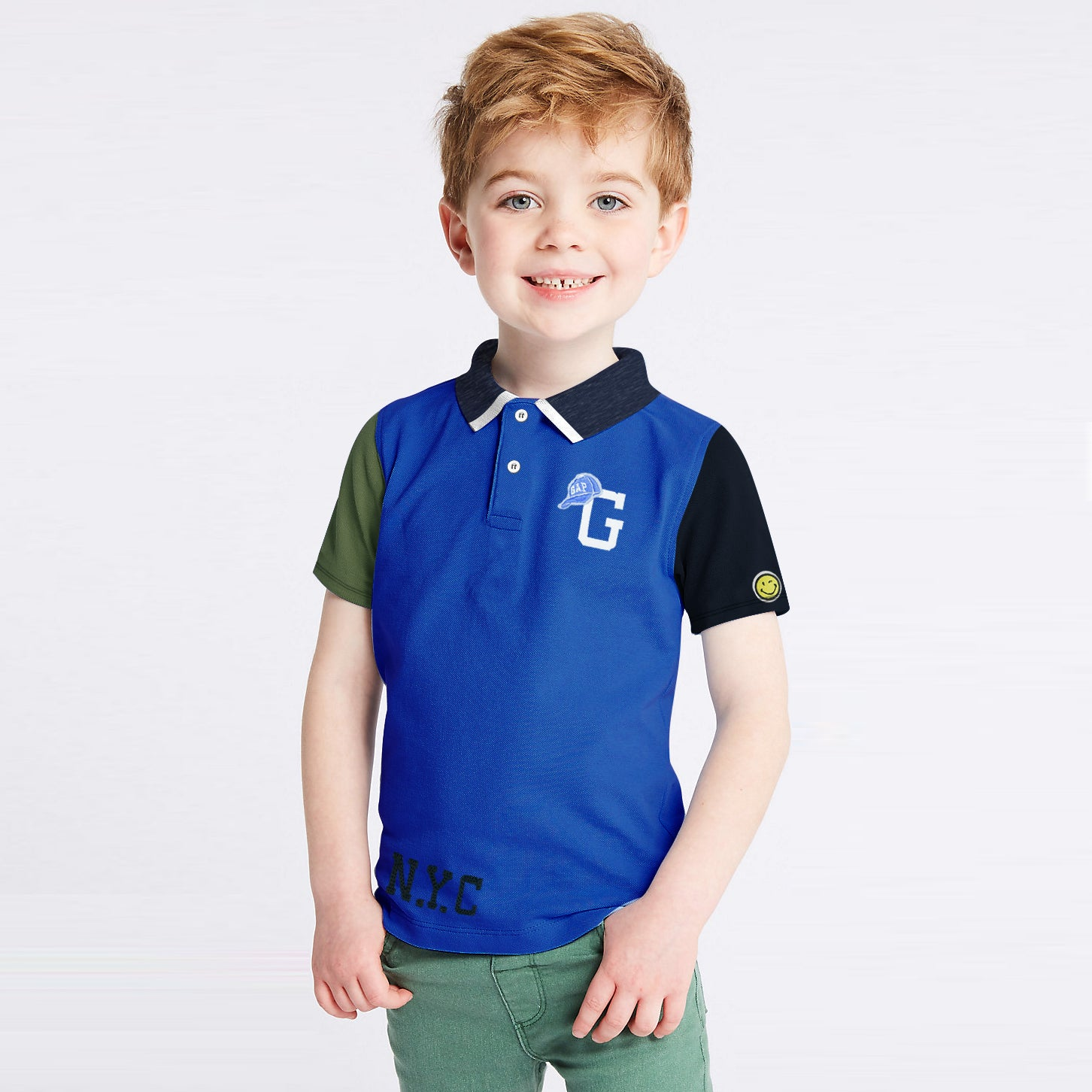 1454151ab GAP Half Sleeve P.Q Polo Shirt For Kids-Dark Blue with Panel-BE8525 -  BrandsEgo