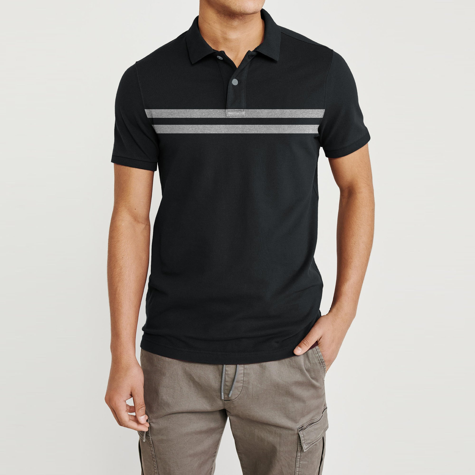 GAP Short Sleeve P.Q Polo Shirt For Men-Charcoal-BE8612